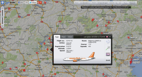 EZY2715 shortly after the incident - screenshot planefinder.net